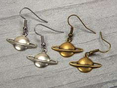 New to fripparie on Etsy: Planet Saturn Astronomy Dangle Earrings Jewelry - Silver Plated or Brass (9.00 USD)