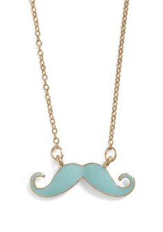OMG must have and i love the color! You Mustache Be Kidding Necklace, #ModCloth
