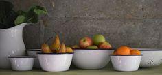 Falcon enamelware six-piece Prep Set, including five bowls and a colander. Falcon Enamelware, Fog Linen, Kitchenware, Tableware, Baking Set, Serving Bowls, Garden Tools, Tea Pots, Range