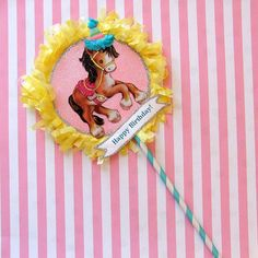 Sweet Horse Paper Lollipop Cake Topper by marileejanedesigns.etsy.com