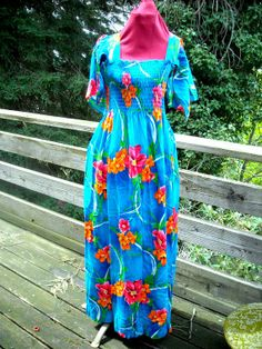 Bright 60s or 70s Hawaiian Dress Floral with Hanky Sleeves Long Length or make it a Mini you decide HIBISCUS on Etsy, $15.00