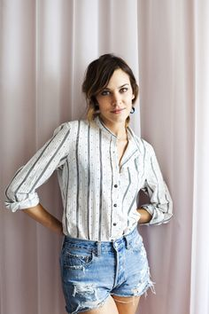 alexa chung has lovely style. simple striped blouse tucked into a pair of jean cutoffs