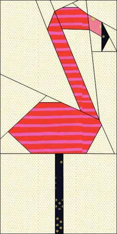 Free Quilt Pattern: Wonderland Quilt Along Block #5: The Flamingo