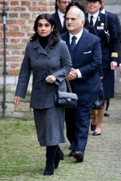 Prince El Hassan bin Talal and Princess Sarvath El Hassan of Jordan arrive at the Old Church in Delft, The Netherlands, for the memorial of Prince Friso, 02.11.13.