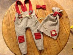 Newborn Boys Photo Prop Upcycled Sweater Pant by FunkyJunkyPeacock