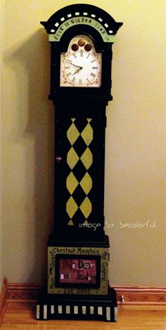 Nice painted grandfather clock
