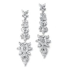 Mariell Luxurious Bridal Statement Earrings with Marquis Cut CZ Clusters  Wedding or Pageant Chandeliers ** Continue to the product at the image link.-It is an affiliate link to Amazon.
