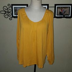 22/24W Cato Long Sleeve Yellow Top Cato brand. Womens Size 22/24W. Long sleeve basic scoop neck top. Mustard yellow color.  Excellent condition! Cato Tops Tees - Short Sleeve