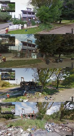 Thaddeus and Leigh Street, Detroit (2007, 2009, 2011, 2013) Intense Before-and-After Google Street View Pictures Perfectly Capture Detroit's Decline - PolicyMic