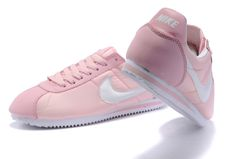 Women nike cortez classic leather Pink White Running Shoes