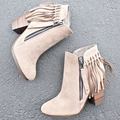 - color: beige/tan color - contrasting side zip closure - fringe tassel back design - solid faux suede upper - cushioned insoles - approx. heel height - imported street styles boho fringe ankle booties - more colors Fringe Ankle Boots, Ankle Booties, Bootie Boots, Shoe Boots, Suede Booties, Zapatos Shoes, Shoes Heels, Cute Shoes, Me Too Shoes