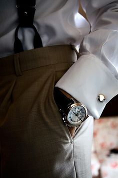 Watch, cufflinks and suspenders - every stylish man's accessories!