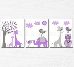 purple and grey  Nursery Art  nursery room decor  by SugarInspire, $14.95