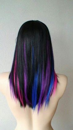 Black Hair with Purple Blue Pink Underneath
