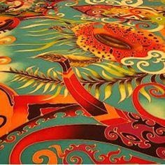 The mythic phoenix rises in this vibrant Malaysian Batik. Malaysian Batik, Southeast Asian Arts, Asian Style, Phoenix, Scary, Artworks, Workshop, Vibrant, Poetry