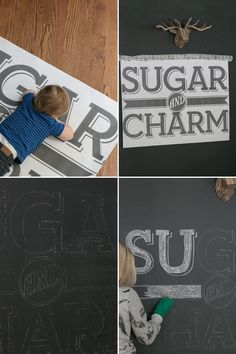 How to transfer type & logos to a chalkboard wall - different technique from Sugar & Charm