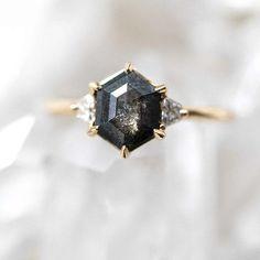 salt and pepper black diamond ring by Grew & Co.