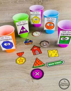 Shapes Worksheets - Planning Playtime Real World Objects Shape Sorting - Kindergarten Math Game Sorting Kindergarten, 3d Shapes Kindergarten, Preschool Learning Activities, Preschool Activities, Kids Learning, Preschool Shapes, Teaching Shapes, Letter Sound Activities, Kindergarten Worksheets