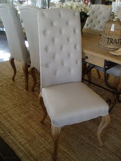 Dining Chairs (Hand Painted White French Furniture, Hamptons, Gold Coast, Australia) W52 x L48 x H113 - living/dining