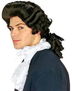 Anogol Hair Cap+Colonial Wig Black Wigs Synthetic Hair Long Wavy Wigs for Revolution Costume