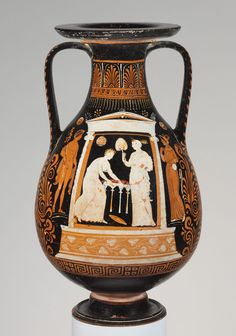 Terracotta pelike (jar) Close in style to the Underworld Painter Period: Hellenistic Date: ca. 330–310 B.C. Culture: Greek, South Italian, Apulian Medium: Terracotta; red-figure Dimensions: H. 22 1/2 in. (57.2 cm) Classification: Vases Credit Line: Rogers Fund, 1906