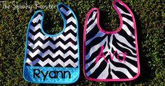 Personalized Baby Bib  Chevron/Zebra by TheSpunkyRooster on Etsy, $14.00