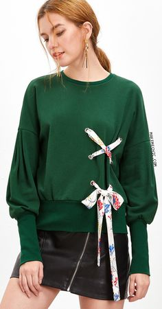 Green Bishop Sleeve Sweatshirt With Eyelet Lace Up Detail