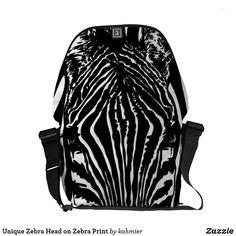 Unique Zebra Head on Zebra Print Courier Bag
