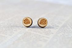 Laser etched Hops Stud Earrings | Beer Lover's Gifts | Hops for Beer | Wood Etch Cabochon Jewelry