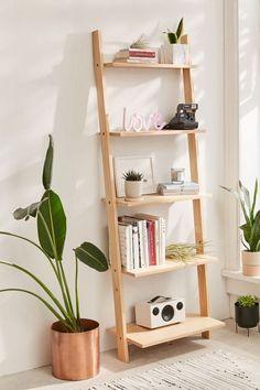 Leaning Bookshelf - Would be perfect in our living room Leaning Bookshelf, Bedroom Bookshelf, Leaning Shelf, Small Bookshelf, Book Shelf Bedroom, Bookshelf Ideas, Ladder Bookshelf Ikea, Apartment Bookshelves, Bookshelf Makeover