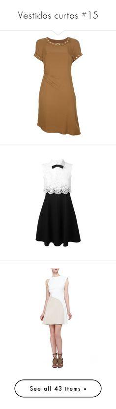 """Vestidos curtos #15"" by franca-helo ❤ liked on Polyvore featuring dresses, short dresses, vestidos, brown, michael michael kors dresses, brown dresses, silk mini dress, crew neck dress, silk dress and black"