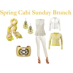 """""""Cabi Spring 2014 Sunday Brunch""""  Daffodil Cardi, Needle Lace Shell & White Indie Jean www.debthompson@cabionline.com"""