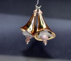 2 Rose Gold Lily Flower  by RainandSnowBeading on Etsy