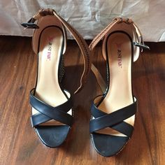 4in wedge heels size 8.5! Worn once! Black and white patterned wedge heels! Size 8.5, 4 in heel. Brown ankle strap. Worn once! JustFab Shoes Wedges