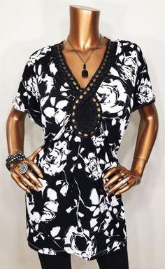 Designers Originals 3X Plus Top Blouse Black/White Sleeveless Stretch Beads | eBay