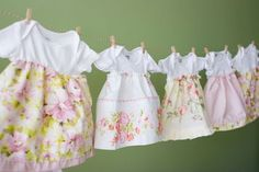 Cute idea for baby dresses...use old onesies...or new ones and goodwill shirts or table cloths for the bottom half...sew doing this! hehe