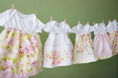 onesie + pillowcase + scrap fabric + elastic = super easy DIY dress