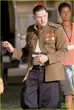 Tom Hardy & Noomi Rapace: 'Child Set with Joel Kinnaman!: Photo Tom Hardy dons a military uniform while filming scenes for his upcoming thriller flick Child 44 with his co-star Noomi Rapace on Sunday (July in Prague, Czech… Tom Hardy Children, Tom Hardy Photos, New James Bond, Noomi Rapace, Joel Kinnaman, Army Clothes, Gary Oldman, British Men, Hot Actors