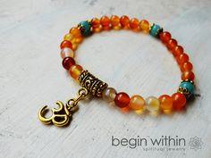 """Vitality"" Energy Bracelet / Mala Bracelet  by BeginWithinJewelry.  Carnelian agate is a high energy stone that restores vitality and stimulates creativity."