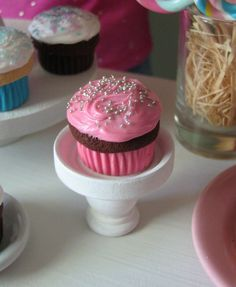"""American Girl/18"""" Doll sized food - Chocolate Cupcake / Pink Frosting with Silver Sprinkles on Etsy, $4.50"""