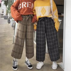 Casual plaid pants - unzzy - Casual plaid pants Source by - Retro Outfits, Korean Outfits, Vintage Outfits, Cute Outfits, Vintage Fashion, Modest Fashion, 90s Fashion, Fashion Outfits, Style Fashion