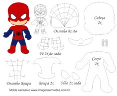 Freie Filzschablone - Filz- und Bastelformen - Homem aranha em feltro-molde grátis – Feltro e moldes para artesanato Freie Filzschablone – Filz- und Bastelformen Felt Patterns Free, Felt Doll Patterns, Stuffed Toys Patterns, Felt Diy, Felt Crafts, Felt Dolls, Paper Dolls, Diy With Kids, Felt Templates