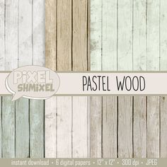 Pastel Wood Digital Paper Pastel Distressed Wood by PixelShmixel, $2.49