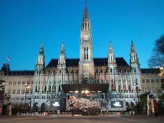 Wiener Rathaus (Vienna City Hall) with the festival stage of Wiener Festwochen 2013 Walking By, Vienna, Austria, Barcelona Cathedral, Folk, Stage, Live, Concert, Music