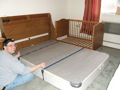 A co-sleeper is a baby bed that attaches to one side of an adult bed. It allows baby to remain close to the parents at night without actually being in the adult bed (which can be dangerous sometime… Sidecar Crib, Baby Co Sleeper, Diy Crib, Baby Time, Our Baby, Baby Baby, Baby Cribs, Baby Sleep, Decoration
