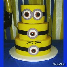 3 tier Minion Cake = =  #whatspoppincakepops #minions #minioncake
