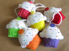 Set of 6 Felt CUPCAKE Christmas Ornaments. $30.00, via Etsy.