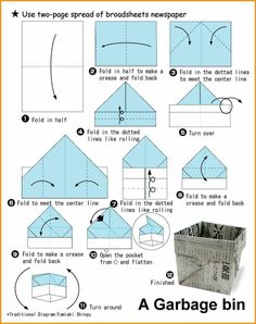 Origami Garbage Bin Tutorial on folding a plant container-box from newspaper. Once your seeds are sprouted, you can plant the whole thing in the ground and it will biodegrade. Garbage Bin Tutorial on folding a plant container-box from newspaper. Diy Origami, Origami Tutorial, Origami Paper, Origami Folding, Oragami, Dollar Origami, Origami Ball, Origami Instructions, Origami Tattoo
