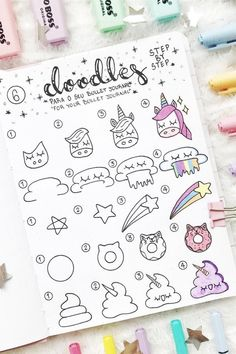 Looking for cute step by step doodle tutorials for your bullet journal? This list of examples will help you get started! 🌈 doodles Step By Step Bullet Journal Doodle Tutorials - Crazy Laura Bullet Journal Banner, Bullet Journal Writing, Bullet Journal Aesthetic, Bullet Journal Notebook, Bullet Journal Ideas Pages, Bullet Journal Inspiration, Bullet Journals, Bullet Journal Savings, Journal List