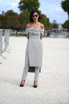 Nicole Warne on the streets in Paris. #PFW